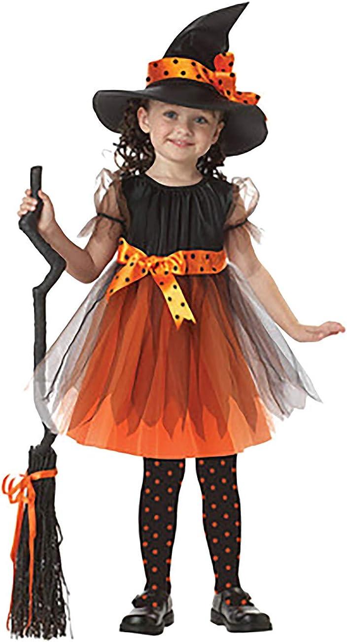Feynman Girls Witch Costume with Hat Halloween