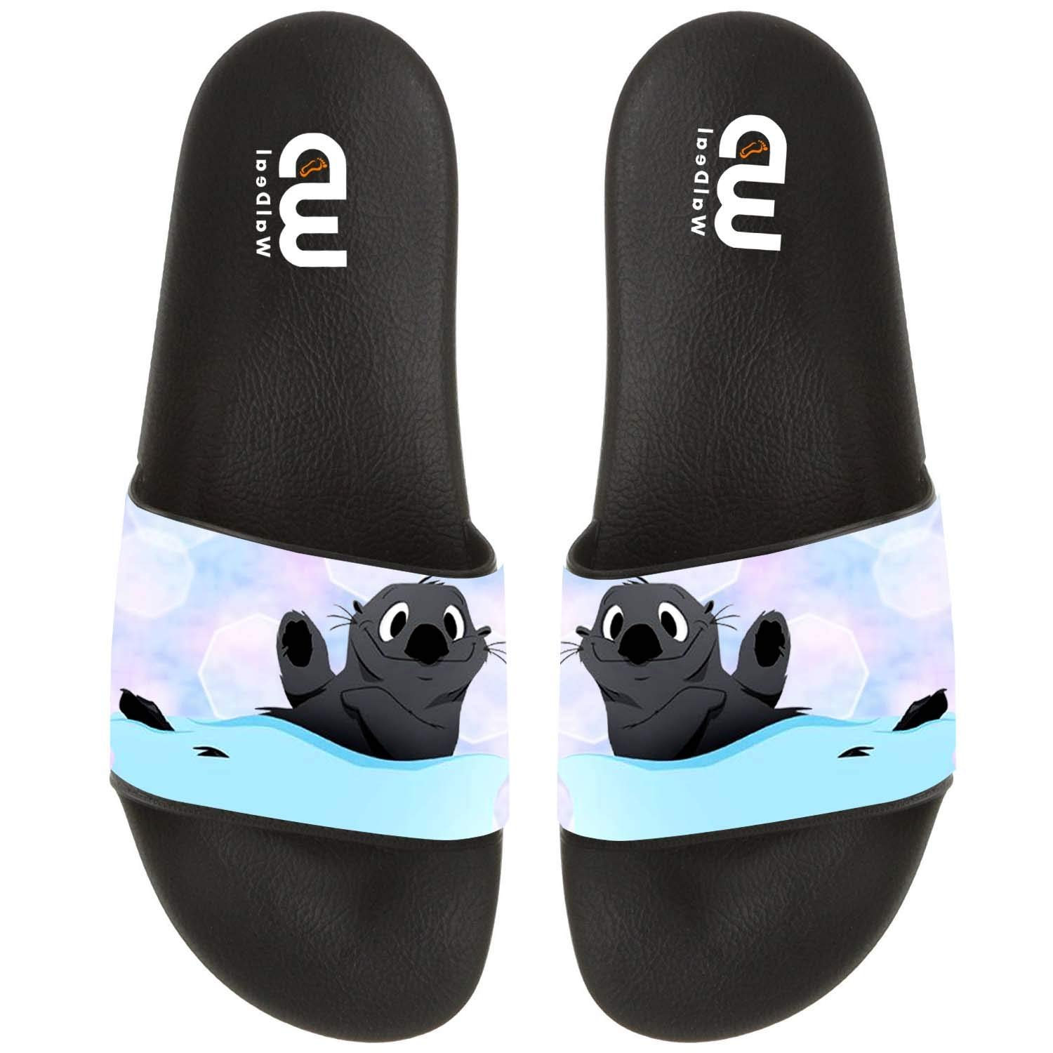 Cartoon Cute Otter Swimming Summer Slide Slippers For Men Women Kid Indoor Open-Toe Sandal Shoes