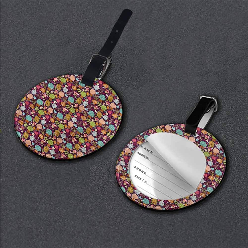 Creative boarding pass Autumn Fall,Drawing Style Flowers Round Luggage Tags