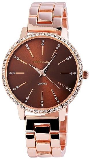 Reloj mujer marrón rosado. Oro Strass metal cuarzo reloj de pulsera: Amazon.es: Relojes