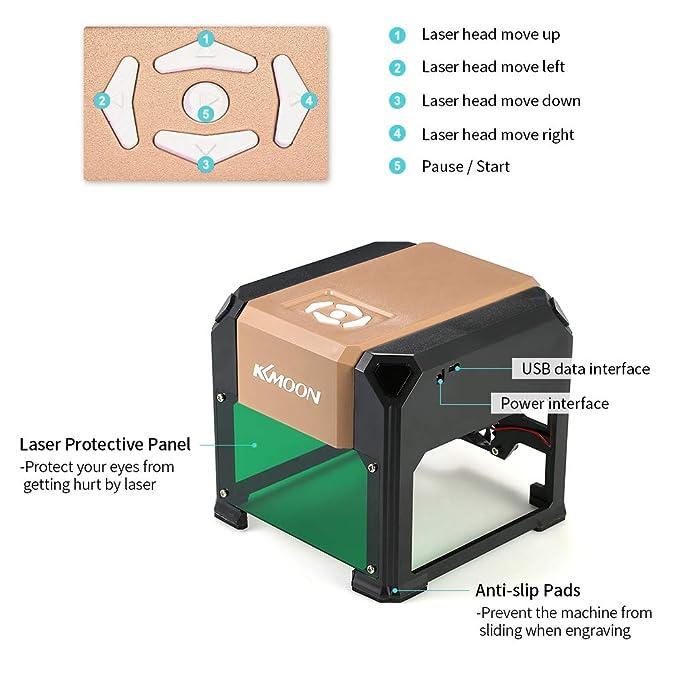KKmoon Tipo K5 automático Nuevo Marca 3000mW Máquina de Grabado láser de Alta Velocidad, Herramientas de Quema de Madera de 80 * 80 mm Para WIN XP / 7/8/10 ...