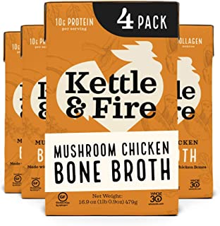 product image for Mushroom Chicken Bone Broth by Kettle and Fire, Pack of 4, Keto Diet, Paleo Friendly, Whole 30 Approved, Gluten Free, with Collagen, 10g of protein, 16.2 fl oz