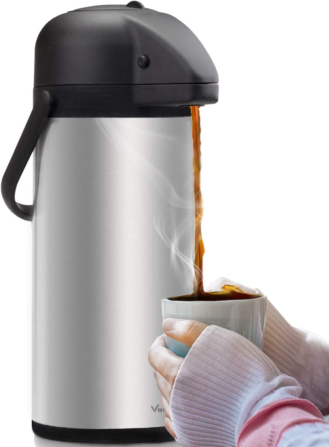 Airpot Coffee Dispenser with Pump - Insulated Stainless Steel Coffee Carafe (102 oz.) - Thermal Beverage Dispenser - Thermos Urn for Hot/Cold Water, Party Chocolate Drinks