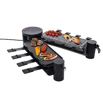 Raclette - Barbacoa eléctrica de mesa (placa de acero y placa de ...