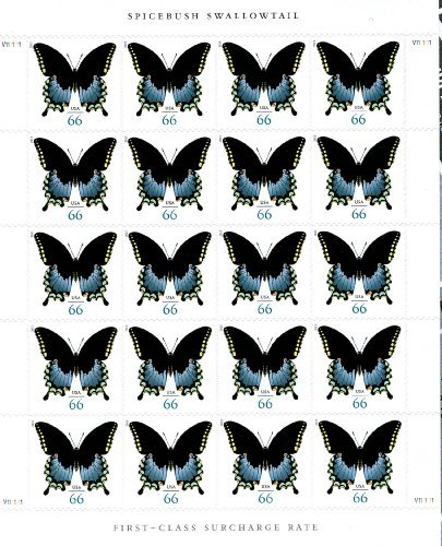 Spicebush Swallowtail Butterfly Sheet of 20 x 66 cent U.S. Postage Stamps by USPS