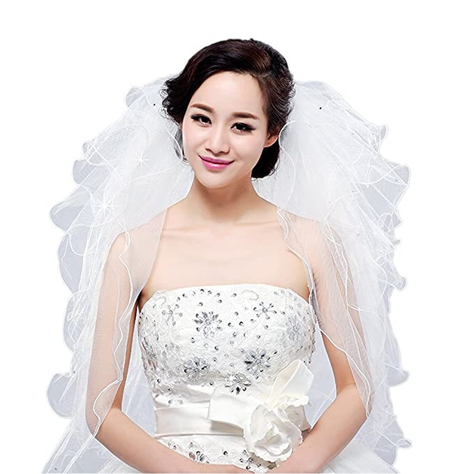 Amazon.com: Bridal Veil Short Wedding Vails First Communion White ...