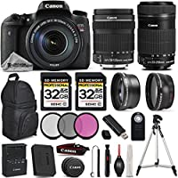 Canon EOS T6s DSLR Camera + Canon EF-S 18-135mm f/3.5-5.6 IS USM Lens + Canon EF-S 55-250mm f/4-5.6 IS STM Lens - All Original Accessories Included - International Version