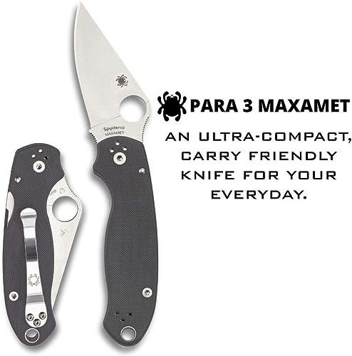 Spyderco Para 3 Maxamet Signature Folding Knife with 2.95 Steel Blade and Dark Gray G-10 Handle – PlainEdge Grind – C223GPDGY