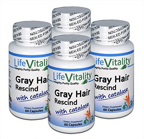 Gray Hair Rescind by Life Vitality Makes Gray Hair Go Away, 4 Pk/240 Caps, Catalase, Saw Palmetto, More, Helps Stop, Prevent Gray Hair, Restores Natural Hair Color, Promotes Thick Healthy Hair non-GMO