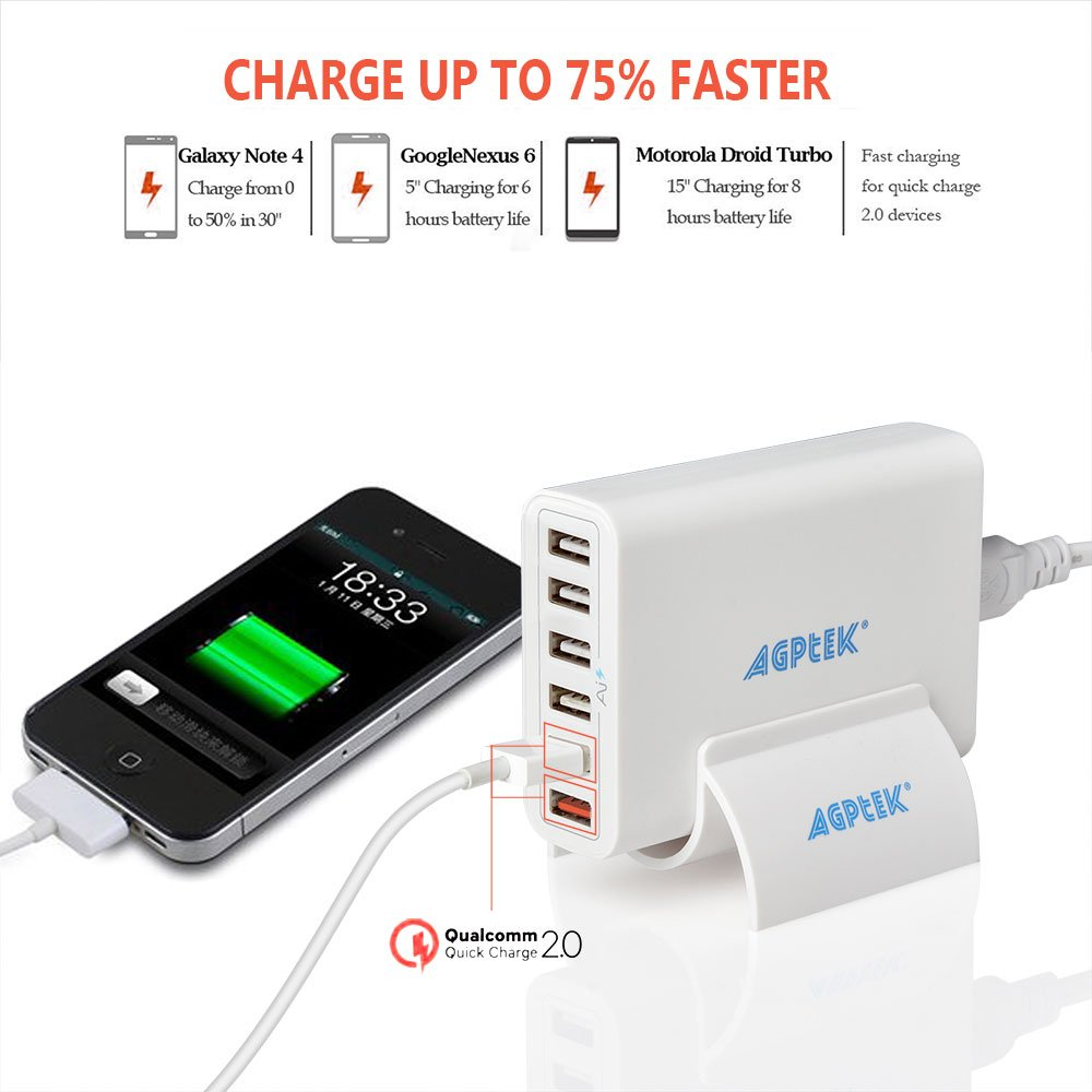 USB Quick Charger - 6 Port Fast Charger (2 x Quick Charge) - 60W USB Desktop Charger Station Wall Charger for iphone, ipad, sumsung, etc