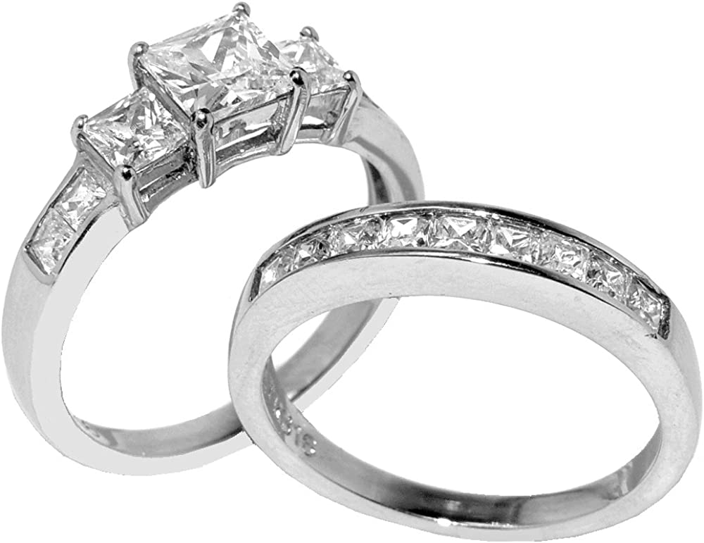 Lanyjewelry Three Stone Type 6mm Princess Cut CZ Stainless Steel Engagement Ring Set