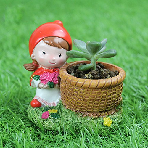 - YOURNELO Little Red Riding Hood and Grey Wolf Plant Flower Pot Succulent Planters Vase (B Girl)