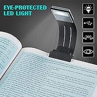 BLOOMWIN Lámpara de Lectura Luces de Lectura Nocturna LED Plegable Clip Pinza Magnética con Carga USB Recargable Con 4 Niveles de brillo Ajustable Marca de Libro con Brazo Flexible
