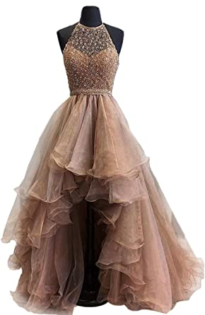 Short Front Long Back Coffee Homecoming Dresses Scoop Neck Beaded Prom Dress