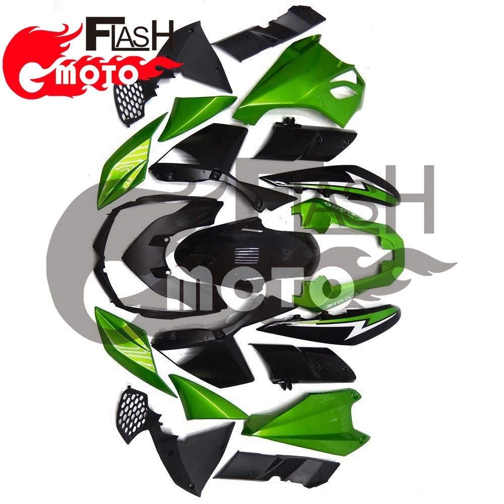 FlashMoto kawasaki 川崎 カワサキ Z1000 2010 2011 2012 2013用フェアリング 塗装済 オートバイ用射出成型ABS樹脂ボディワークのフェアリングキットセット (グリーン,ブラック)   B07L88MPMH