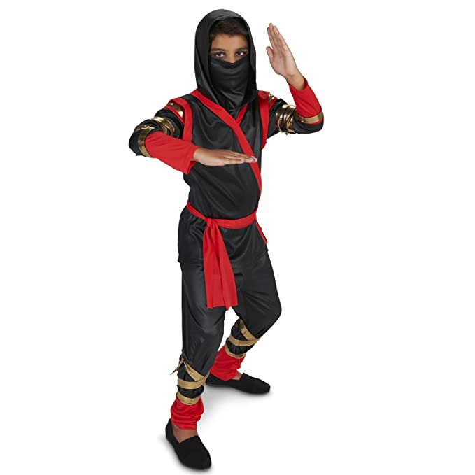 Amazon.com: Disfraz de ninja negro y rojo niño: Clothing