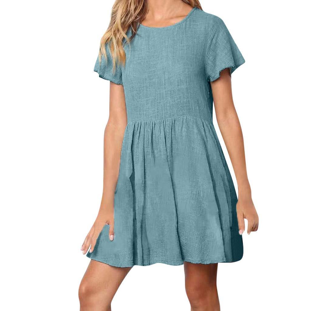 560b6de2b883 Amazon.com: VonVonCo Dresses for Women Party Linen Mini Dress Solid ...
