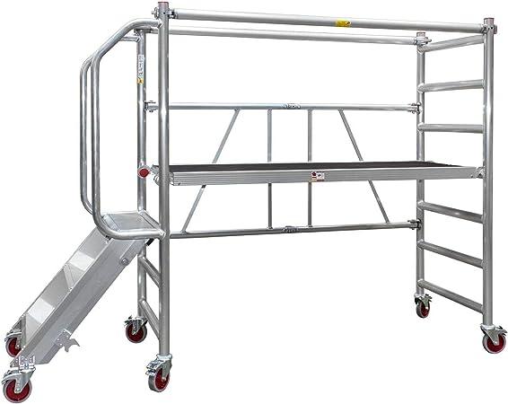 Jumbo® Aluminio plegable de andamio – Andamio de ruedas de transporte de trabajo Etapa plegable plegable Plataforma de altura 0,5 – 1,0 m con escaleras: Amazon.es: Hogar