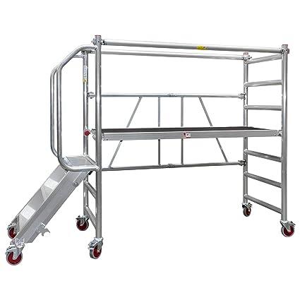 Jumbo® Aluminio plegable de andamio - Andamio de ruedas de transporte de trabajo Etapa plegable