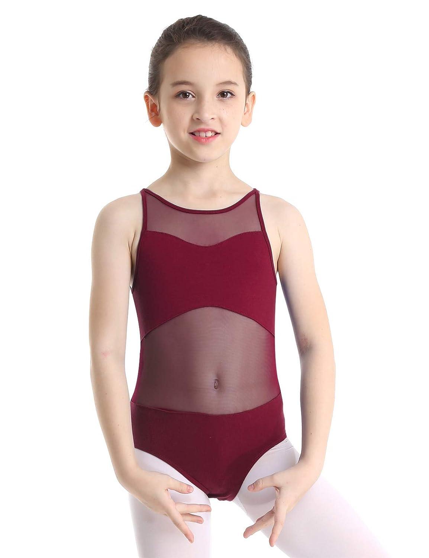 Freebily Kids Girls Turtle-neck Cutout Back Gymnastics Ballet Dance Leotard Athletic Sports Tank Tops