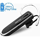 Bluetooth Headset Handsfree [24Hrs Playtime] Wireless Headset Earpiece with Microphone Clear Voice Capture Technology Earbud Headphone Earphone for Mobile Phone iPhone with Carrying Bag (Black)