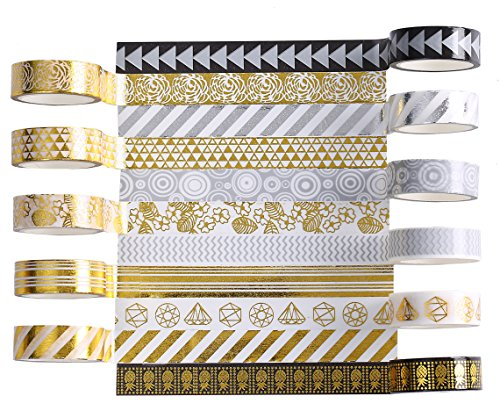 21 Rolls Foil Washi Tape - Gold & Colored Metallic Washi Tape - 15mm Wide DIY Craft Masking Tape by leebee