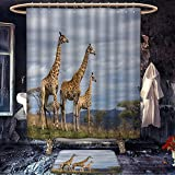homecoco Africa patterned Shower curtain bath mat African Giraffe Family Looking at the Skyline in Savannah Grassland with Shrubs Print Satin Fabric Bathroom Set with Hooks Tan Blue
