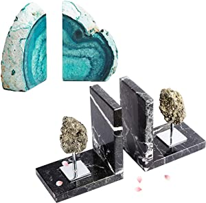 AMOYSTONE Decorative Bookends Crystal Stone Book Ends Heavy Great Gifts