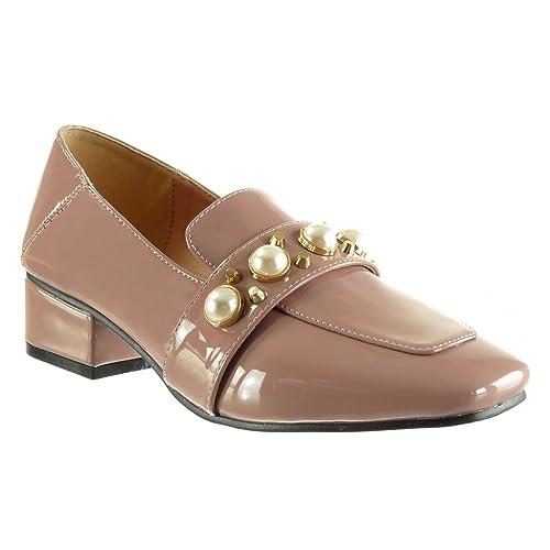 Angkorly - Zapatillas de Moda Mocasines Slip-on Mujer Tachonado Perla Patentes Talón Tacón Ancho Alto 4 CM: Amazon.es: Zapatos y complementos