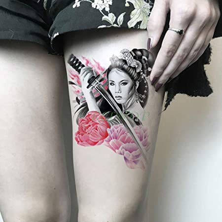 3pcsGirl Cuchillo Rose Tattoo Tatuaje de Arte Corporal de Gran ...