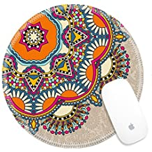 Luxlady Round Gaming Mousepad 32629940 floral round pattern in ukrainian oriental ethnic style for your greeting card or invitation template design for card vintage lace doily vector illustr