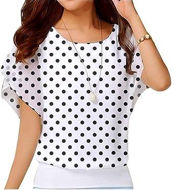 60df1d63f61 Neineiwu Women s Loose Casual Short Sleeve Chiffon Top T-Shirt Blouse  (Black Polka Dot
