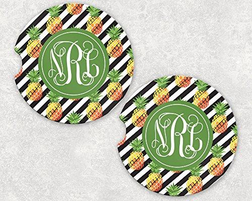 Monogrammed Car Coasters - Absorbent Sandstone - Diagonal Stripe Pineapples (SET of 2)