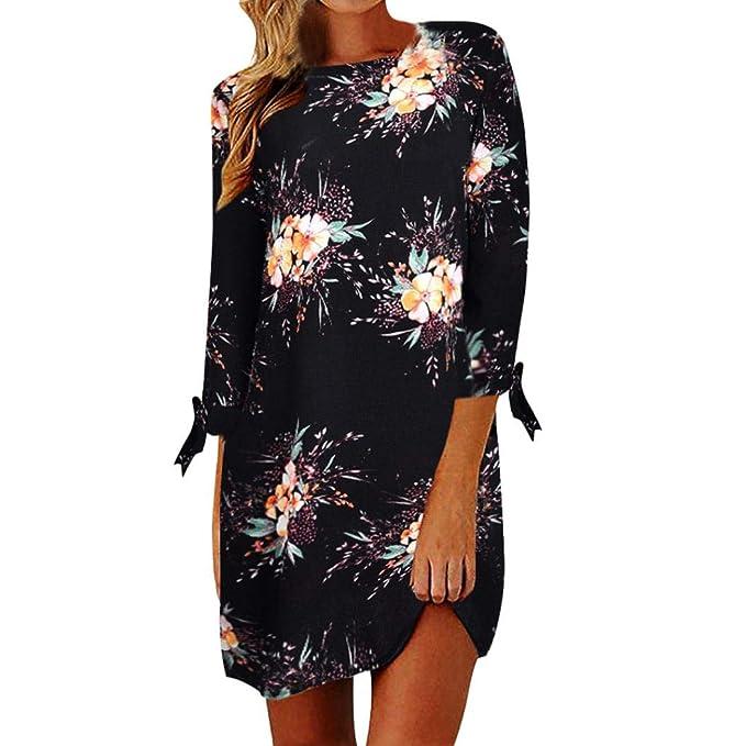 6e0a3a87b70474 Schöne Kleider MEIbax Frauen Boho Blumedrucken Abendkleider Damen Casual  Mini Maxikleid Strandkleid Etuikleid 3/4 Ärmel Partykleider: Amazon.de:  Bekleidung