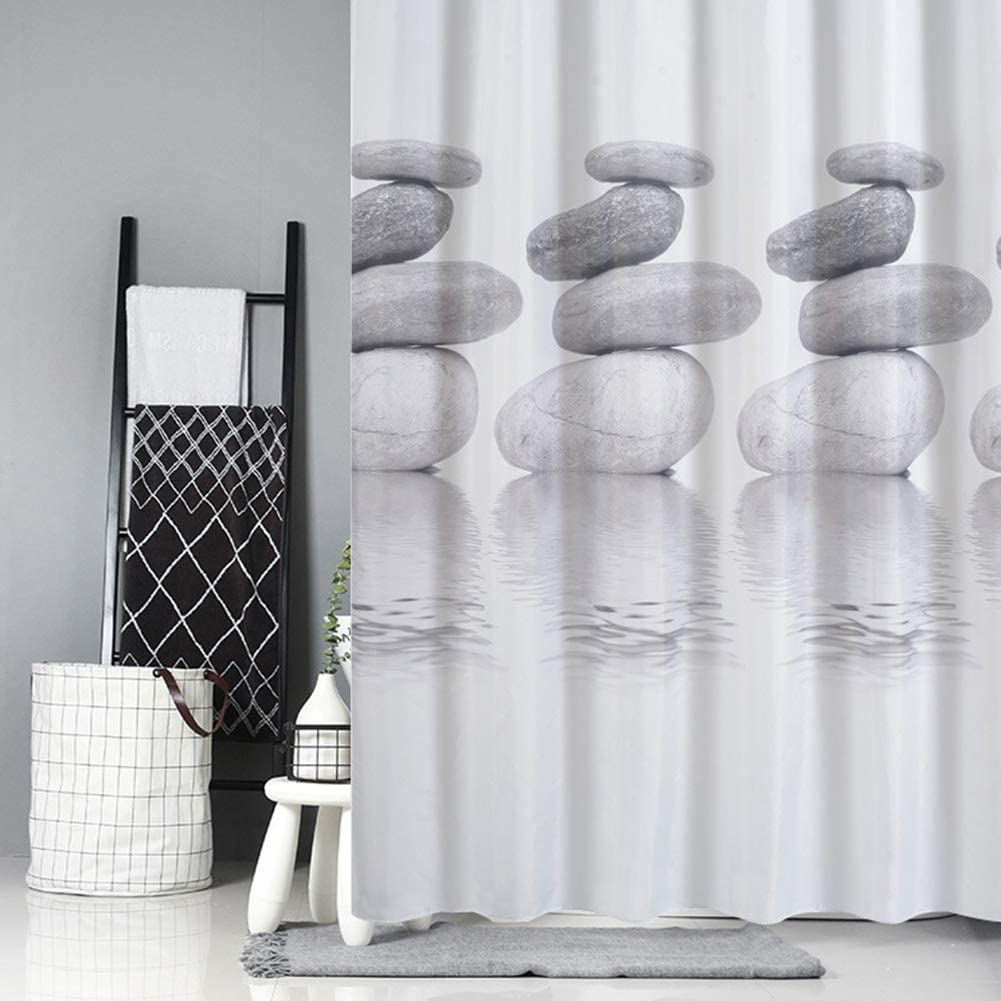 Home Shower Curtains for Bath Tub and Shower Stall Shower Curtain with Hooks,Polyester Fabric Liner Gray White Bathroom Curtains Waterproof Mould Resistant Anti-bacterial Non Toxic 120CMx180CM