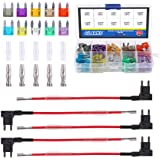Glarks 12V 5 Pack Car Add-A-Circuit Fuse TAP Adapter Mini ATM APM Blade Fuse Holder with 120Pcs 2A 3A 5A 7.5 A 10A 15A…
