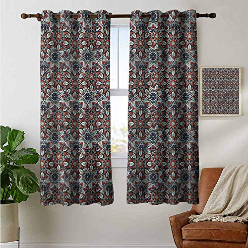 (petpany Curtains for Living Room Ottoman,Vintage Floral Folk,Complete Darkness, Noise Reducing Curtain 42