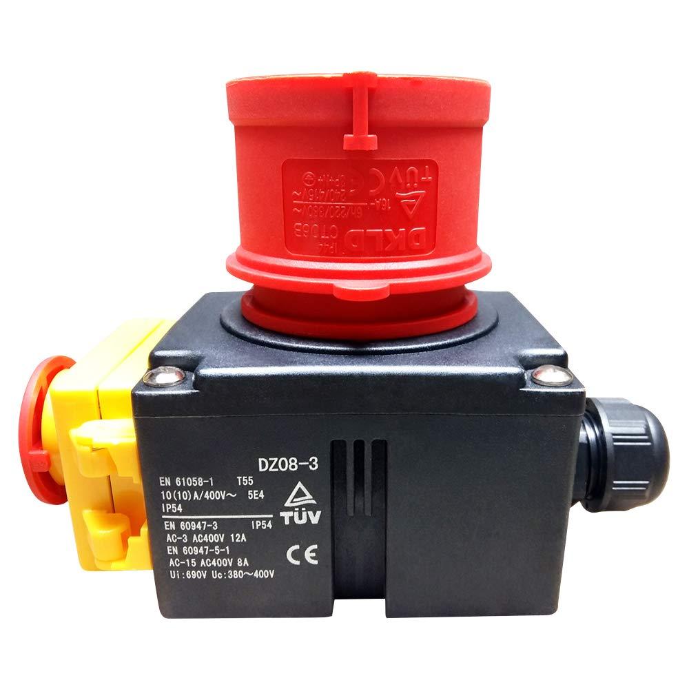 Stecker Kombination DZ08-3 400V mit NotAus Klappe Baugleich Kedu KOA7 Schalter