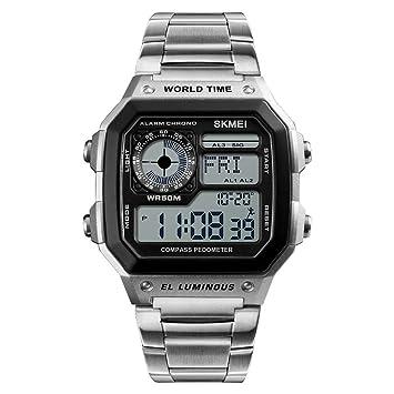 Impermeable De Acero Inoxidable Relojesinteligentes/Brújula/Fecha/Kilometraje Deportivo/Consumo De Calorías/Reloj Ajustable A Prueba De Golpes(Silver): ...