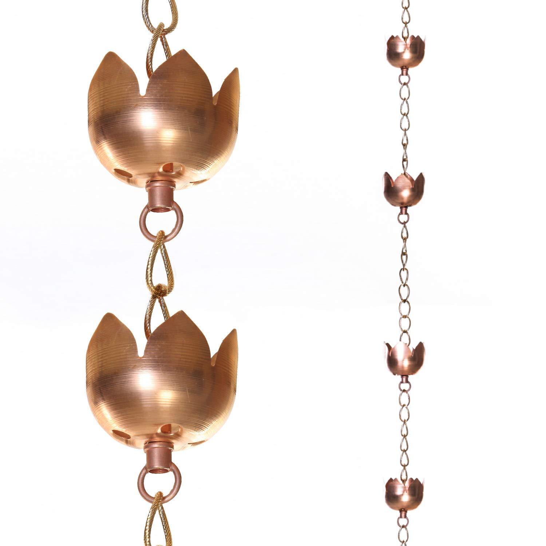 Topadorn Rain Chains Lotus Decorative 95'' Rain Chain with 11 Lotus Shaped Copper Cups