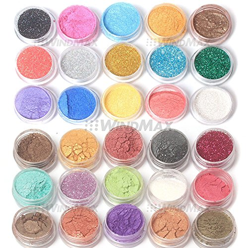 US Seller! Brithday Gift! Brand New 30 Mulit Color Cold Smoked Warmer Glitter Shimmer Pearl Loose Eyeshadow Pigments Mineral Eye Shadow Dust Powder Makeup Party Cosmetic Set by WindMax