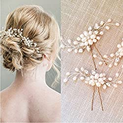 Artio Wedding Hair Pins Set Jewelry for Bride and Bridesmaids Crystal Rhinestone Hair Accessories 2 Pack (Gold)