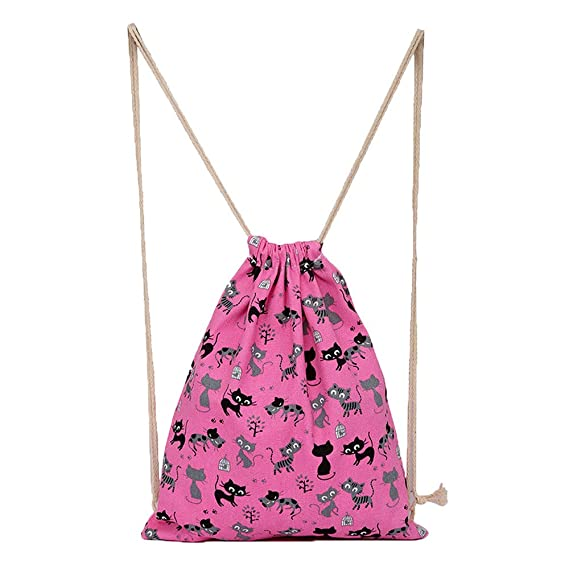 Amazon.com | Portable Drawstring Backpack Cat Print Foldable Bag Lightweight Sports Gym Sack Pack Beach Travel Outdoor Pouch Bag | Drawstring Bags
