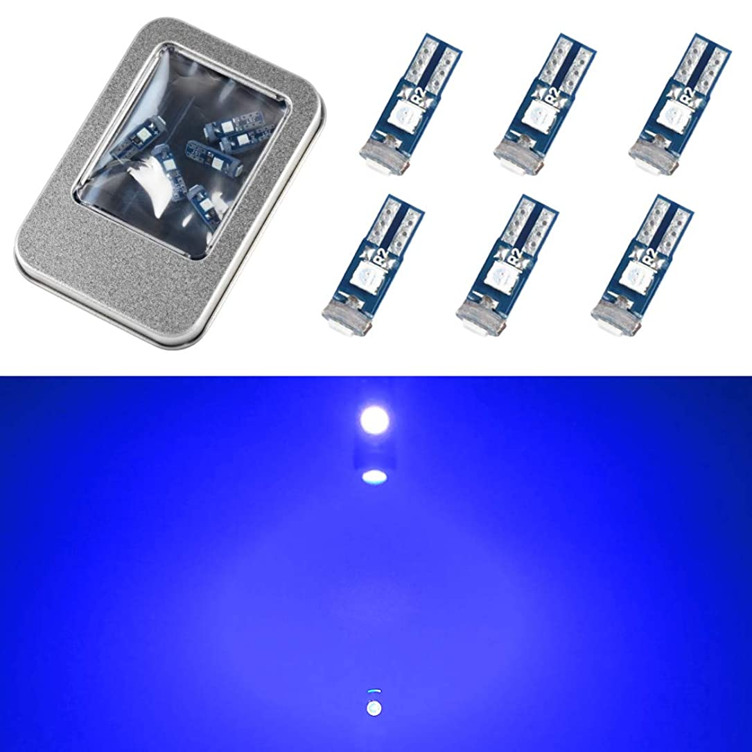 シャンプー発見ラベンダーT5 T6 LED 10個セット メーター球 パネル球 エアコン球 ウェッジ球 ブルー SMD 3chip バルブ