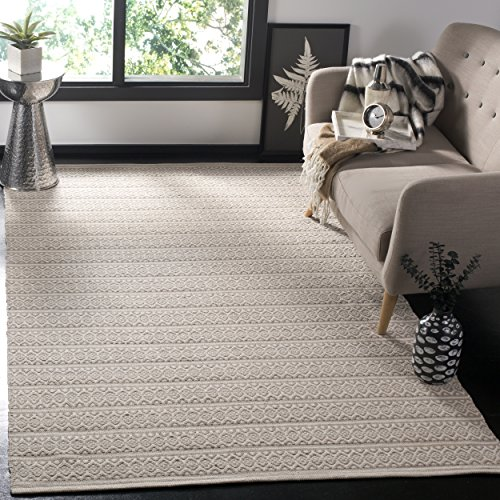 Safavieh Montauk Collection MTK341A Handmade Flatweave Ivory and Grey Cotton Area Rug (5' x - Cotton Weave Rug