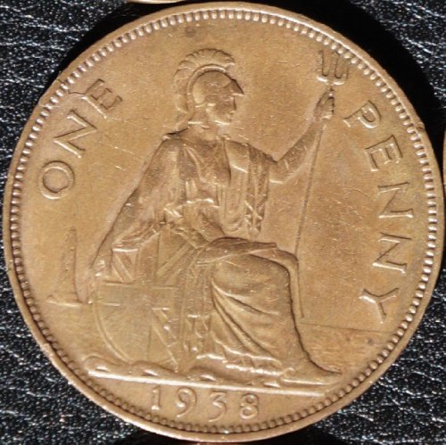 Rare Coin: Great Britain/ United Kingdom 1938 Large Bronze Penny King George Vi Uk Large Coin, Rare Bronze Minting