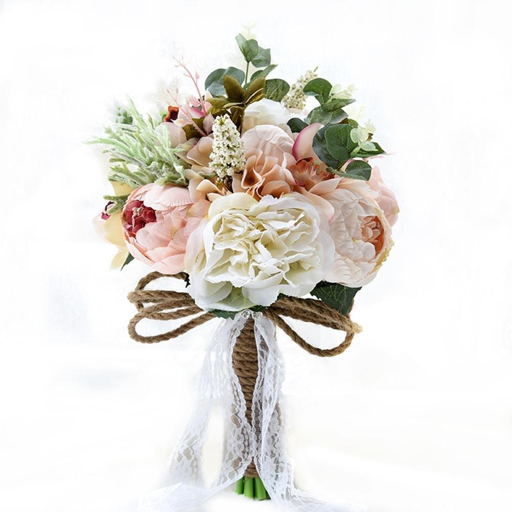 RUNGAO Fairy Bridal Wedding Bouquet Silk Flower Handmade Crystal Bridesmaid Foam Brooch Decor