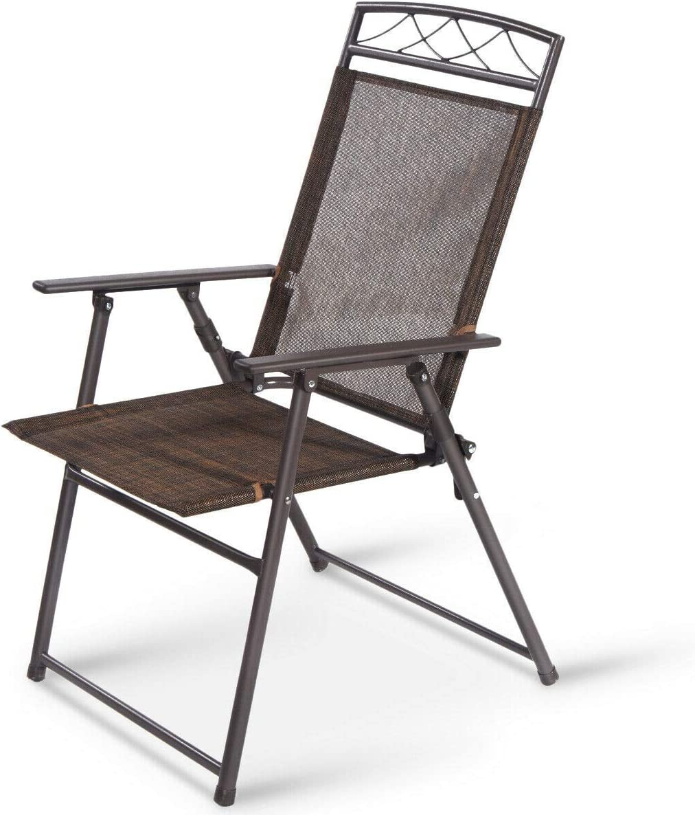 SPSUPE Set of 4 Outdoor Patio Folding Chairs, Steel Camping Chairs, Ideal for Deck, Garden, Pool, Backyard, Coffee