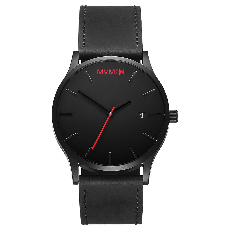 MVMT Herren Watch Uhr Black-Black Leder Armband MC01BL