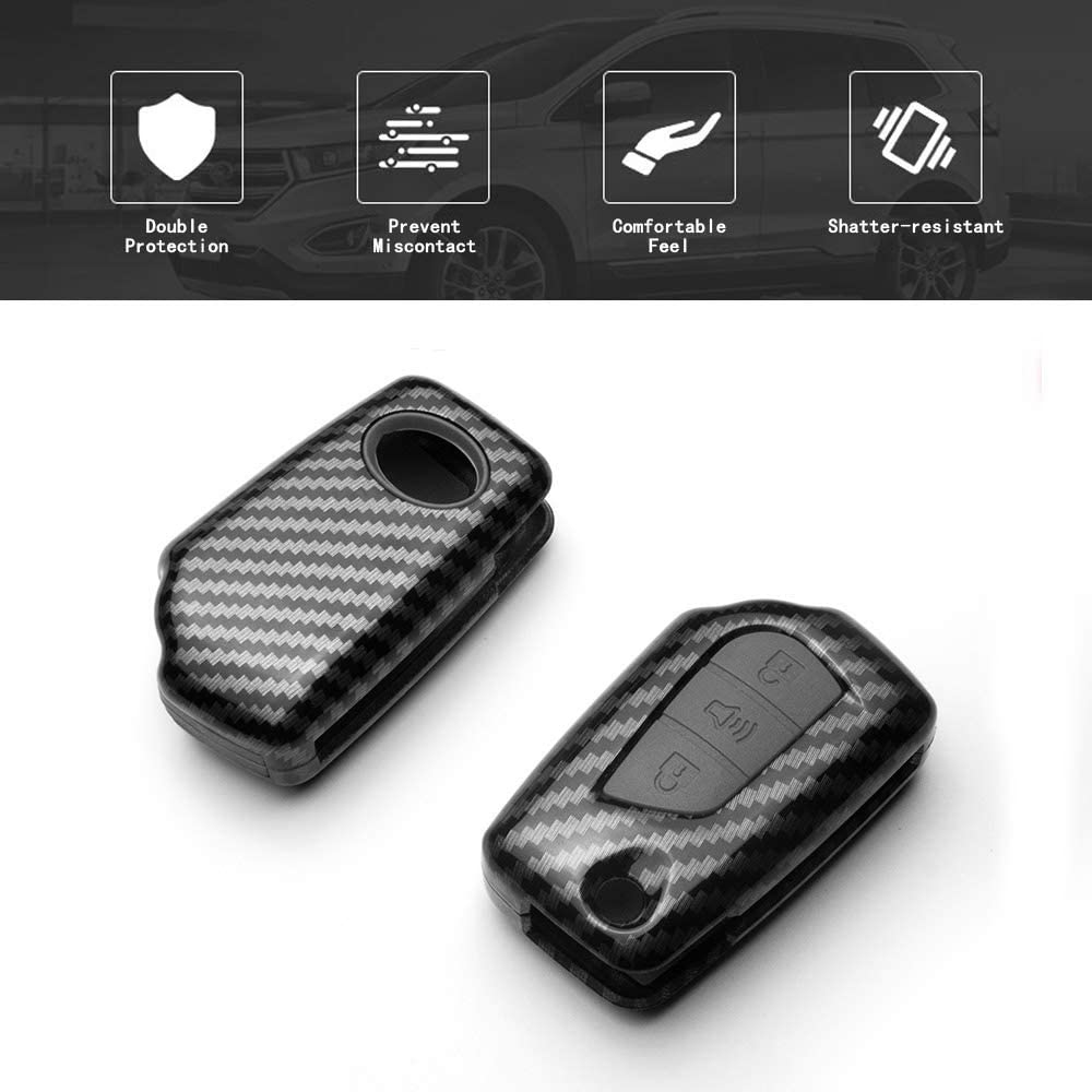TANGSEN Flip Key Fob Case for Scion IM TC XB Toyota C-HR Corolla IM 3 Button Keyless Entry Remote Personalized Protective Cover Plastic Carbon Fiber Pattern Black Silicone